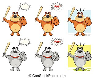 Bulldog Cartoon Mascot Character Set 3. Vector Collection