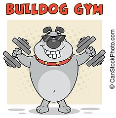 Bulldog Cartoon Mascot Character With Sunglasses Working Out With Dumbbells