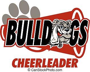 bulldog cheerleader design with school mascot and megaphone
