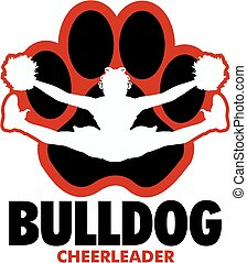 bulldog cheerleader team design with girl doing a toe touch inside a large paw print