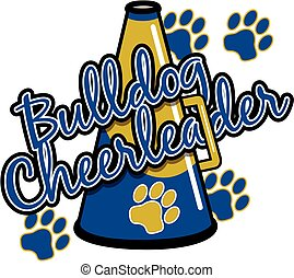 bulldog cheerleader team design with megaphone and paw prints for school, college or league