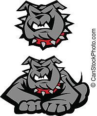 bulldog, corpo, illustrazione, mascotte