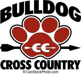 bulldog cross country team design with arrow and paw print