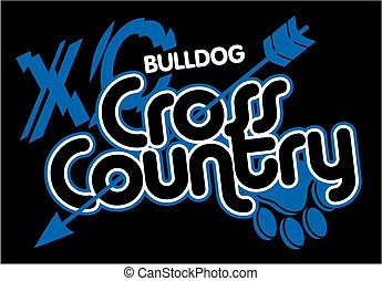 bulldog cross country team design with arrow and paw print...