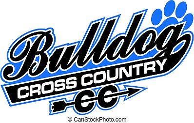 bulldog cross country design in script with tail for school, college or league
