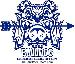 bulldog cross country team design with mascot biting arrow...