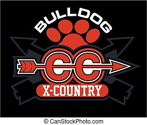 bulldog cross country team design with paw print and crossed...