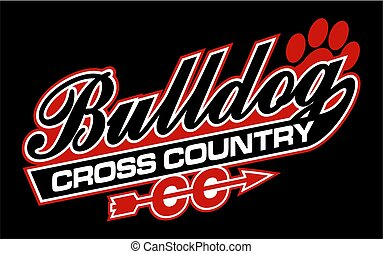 bulldog cross country team design in script with tail for school, college or league