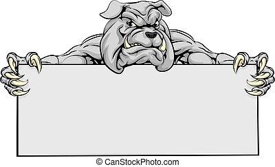 bulldog, deportes, señal, mascota