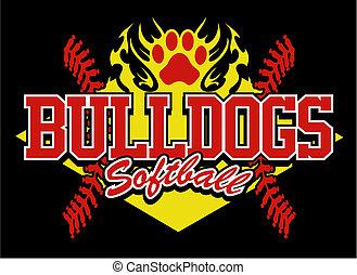 bulldog, diseño, sofbol