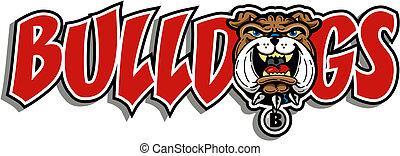 bulldog, disegno, mascotte