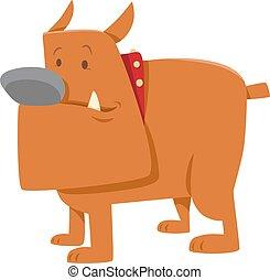 bulldog, divertente, cane, cartone animato