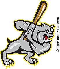 Bulldog Dog Baseball Hitter Batting Cartoon - Illustration...