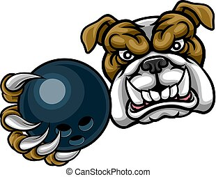Bulldog Dog Holding Bowling Ball Sports Mascot