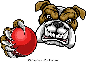 Bulldog Dog Holding Cricket Ball Sports Mascot