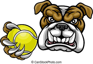 Bulldog Dog Holding Tennis Ball Sports Mascot