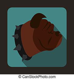 Bulldog dog icon, flat style