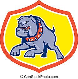 Bulldog Dog Mongrel Attacking Retro