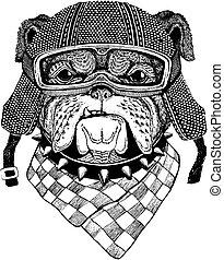 Bulldog, dog with motorcycle helmet. Vintage motorcycle...