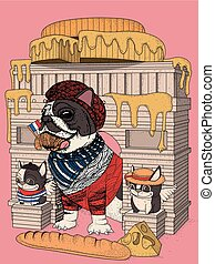 bulldog, elementos, francés