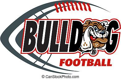 bulldog, fútbol, con, mascota, cabeza