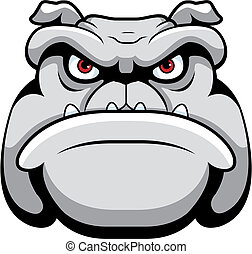 A cartoon face and head of a bulldog.
