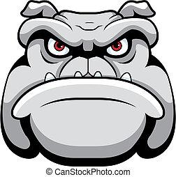 Bulldog Face - A cartoon face and head of a bulldog.