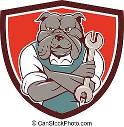bulldog, fegyver kereszteződnek, szerelő, csavarkulcs, címer, karikatúra