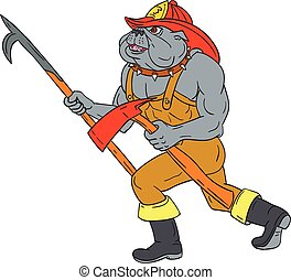Bulldog Firefighter Pike Pole Fire Axe Drawing - Drawing...