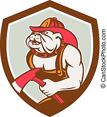 Illustration of a bulldog fireman firefighter holding axe facing side set inside shield crest on isolated background done in retro style.