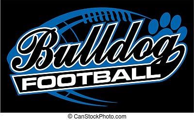 bulldog football team design in script with tail for school,...