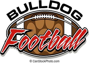 bulldog football design with football and paw print