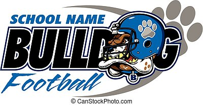 bulldog football design with bulldog mascot head