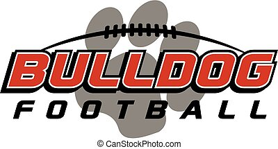 bulldog football design with laces and paw print in the background