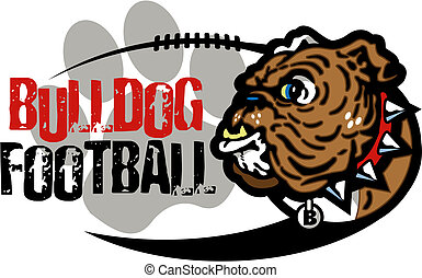 bulldog football design with mascot and paw print