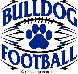 bulldog football design with paw print inside ball