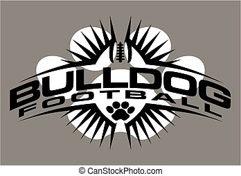 bulldog football team design with paw print and ball for...