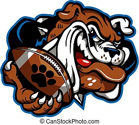 bulldog football mascot holding ball in paw for school,...