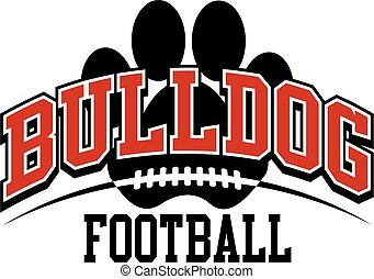 bulldog football team design with large paw print for...
