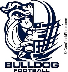 bulldog football team design with mascot and facemask for ...