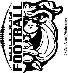 bulldog football team design with mascot and laces for school, college or league