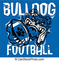 bulldog football team design with mascot holding ball in paw...
