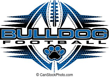 bulldog football team design with paw print and ball for school, college or league