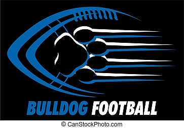 bulldog football team design with paw print for school, college or league