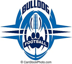 bulldog football team design with paw print inside ball for school, college or league