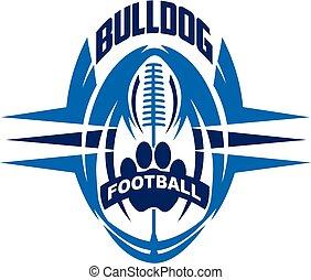 bulldog football team design with paw print inside ball for...
