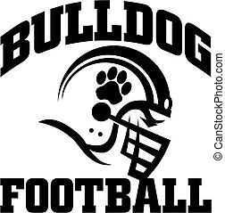 bulldog football team design with paw print on helmet for...