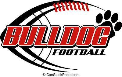bulldog football with paw print