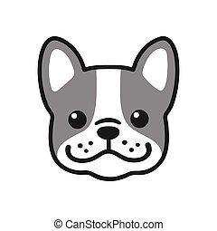 bulldog, francés, cara