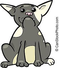 bulldog, francese, cartone animato, illustrazione